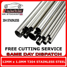 12mm x 1mm Wall T304 Stainless Steel Tube Multiple Lengths