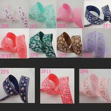 Free shipping 5 Yards 1'' 25mm Flowers droplets printed Grosgrain Ribbon