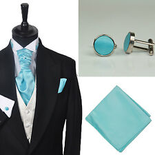 Formal Tailor New Mens Aqua Plain Wedding Cravat Hankie Cufflink Set