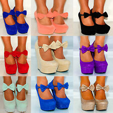 Platform High Heels Shoes Womens Wedges Suede Bow Coral Pink Summer 3-8