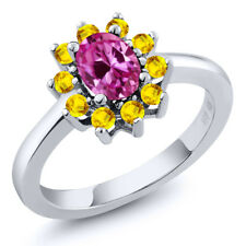 1.50 Ct Oval Pink Created Sapphire Yellow Sapphire 925 Sterling Silver Ring