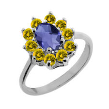 1.15 Ct Oval Checkerboard Blue Iolite Yellow Sapphire 14K White Gold Ring
