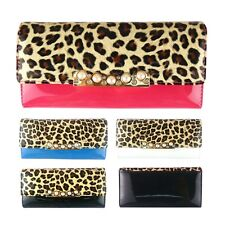 New Women Ladies Gloss Leopard Print Long Pearl Clutch Purse Wallet Handbag