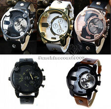 New Fashion Cool Original Mens Stainless Steel Dial Leather Band watch 5 types