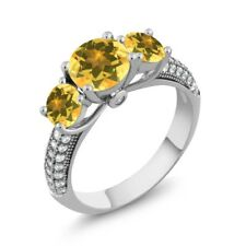 2.76 Ct Round Yellow Citrine 925 Sterling Silver 3-Stone Ring