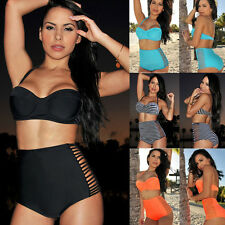 TOP RETRO Sexy Bikini Set Swimsuit Swimwear Vintage Push Up Bandeau HIGH WAISTED