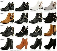 WOMENS LADIES CUT OUT CHELSEA ANKLE BUCKLE CHUNKY  BLOCK HEEL BOOTS SHOE SIZE