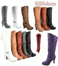 Women's  Round Toe High Heel Platform Mid-Calf  Knee High Boots Shoes Size 5 -10
