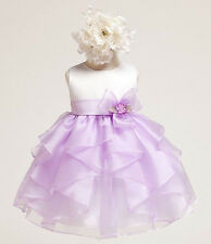 New Baby Girls sz 0-6m 12m 18m 24m White Lilac Dress Flower Birthday Easter USA