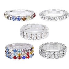 Women Bridal Wedding Silver Crystal Diamante 1/2/3 ROW Elastic Stretch Toe Ring