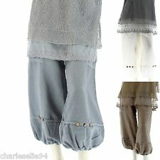 Women's CharlesElie94 DENISE Bubble Hem Sarouel Harem 100% Linen Short Pants