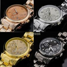 Womens Mens 4 Colors/2 Models Waterproof Stainless Date Quartz Wrist Watch