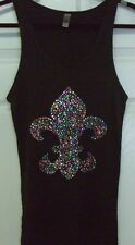 Multi Color Fleur De Lis Rhinestone Tank Top Shirt Black Bling Women's Head