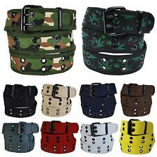 Premium Double Row Grommet Fabric Belt 2 Hole Canvas Web Stud Punk Rock Goth Emo