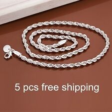 5PCS WHOLESALE Men 925 Sterling Silver Rope Shaped Chain 4mm Necklace