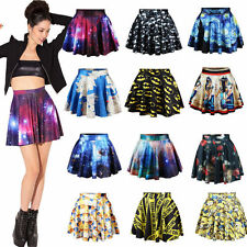 Women's Printed High Waist Pleated Floral Short Mini Skirt Skater Flared Dress
