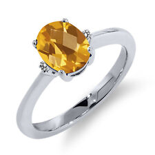 1.28 Ct Oval Checkerboard Yellow Citrine White Diamond 18K White Gold Ring