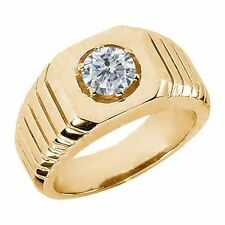 0.50 Ct G/H SI2/I1 Diamond 925 Yellow Gold Plated Silver Men's Solitaire Ring