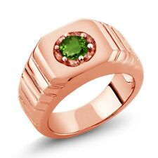 0.50 Ct Round Green SI1/SI2 Chrome Diopside 18K Rose Gold Men's Solitaire Ring