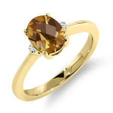 1.18 Ct Oval Checkerboard Champagne Quartz 14K Yellow Gold Ring