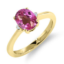 1.52 Ct Oval Pink Mystic Topaz White Sapphire 14K Yellow Gold Ring