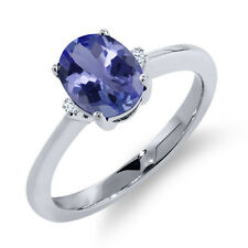 1.18 Ct Oval Blue Tanzanite White Sapphire 925 Sterling Silver Ring