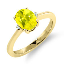 1.62 Ct Oval Canary Mystic Topaz White Sapphire 14K Yellow Gold Ring