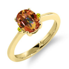 1.63 Ct Oval Ecstasy Mystic Topaz Canary Diamond 18K Yellow Gold Ring