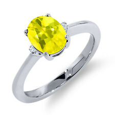 1.62 Ct Oval Canary Mystic Topaz White Sapphire 925 Sterling Silver Ring