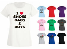 Womens I Love Shoes Bags and Boys Slogan T-shirt NEW UK 6-18