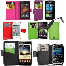 Flip Wallet Leather Case Book Cover For Various Phone Models Make *FREE STYLUS*