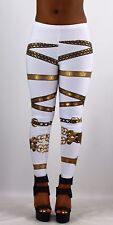 Sexy Gold Foil Belt Print Spandex Stretch Fitted Skinny Legging Pants