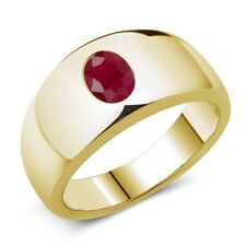 1.89 Ct Oval Red Ruby 925 Yellow Gold Plated Silver Men's Ring