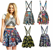 NEW WOMENS MARVEL COMIC PRINTED SUPERMAN BATMAN SPIDERMAN DUNGAREE SKATER SKIRT