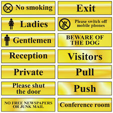 Gold Self Adhesive Office Door Workplace Signs - 200x50mm - Toilet Smoking Exit