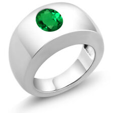 1.50 Ct Oval Green VS Simulated Emerald 925 Sterling Silver Men's Solitaire Ring