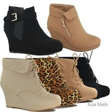Women's Ankle Boots Wedge Heel Platform Lace Up Booties Beige Black Shoes  New