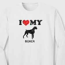 I Heart My Boxer Rescue Pets T-shirt Love Dog Breed Puppies Long Sleeve Tee