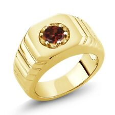 0.60 Ct Round Red VS Garnet 925 Yellow Gold Plated Silver Men's Solitaire Ring