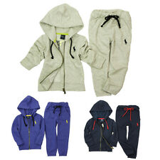 Kids Boys Girls Tracksuits Polo Pattern Sets Zipper Hoodies + Trousers Outfits