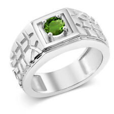 0.50 Ct Round Green SI1/SI2 Chrome Diopside 925 Sterling Silver Men's Ring