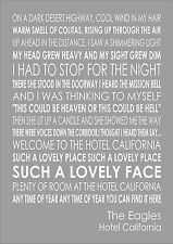 Hotel California - The Eagles Word Wall Art Typography Words Song Lyric Lyrics