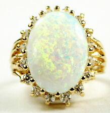 R270, Created White Opal, 16 CZ accents, 10K Gold Ring