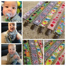 Dummy Pacifier Chain Ribbon Clip Vintage Owls Cars Boys Girls Toddler Baby New