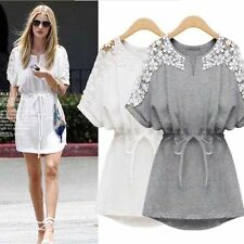 New Women Sexy Lace Floral Short Sleeve Casual Party Cocktail Evening Mini Dress