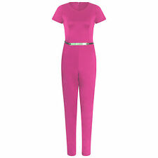 Women Short Sleeve Scuba Plain Belted Trouser Jumpsuit Ladies Sizes 8-14