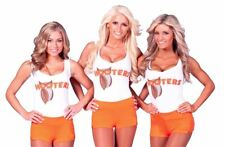 New Logo Hooters Bar Girl T-shirt Vest with/without Hot Pants Fancy Dress