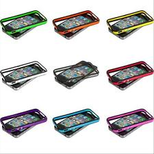 TPU Silicone Bumper Frame Box Case Cover Metal Buttons for iPhone 4S 4 4G w/Gift
