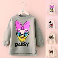 Cute Kids Girls Cartoon Daisy Mickey Cat Tiger Sweaters Tops White Gray Cotton