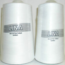 LINA 100% PURE WHITE COTTON SEWING THREAD BUMBAC, 5000 MTRS OR 10,000 MTR CONE